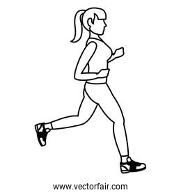 line fitenes woman running exercise training