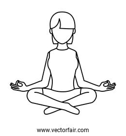 line woman sitting with yoga relaxation position