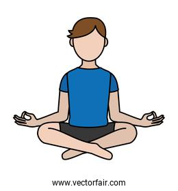 color fitness man sitting with yoga position