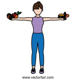 color woman with healthy and unheathy food in her hands