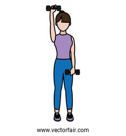 color fitness woman training with dumbbels lifestyle