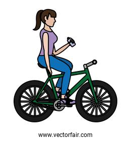 color woman ride bike and drinking water