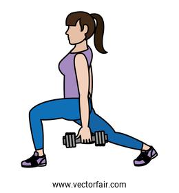 color woman with dumbbels and lunges each leg