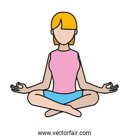 color woman sitting with yoga relaxation position