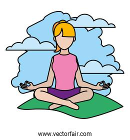 color woman sitting yoga position in the landscape