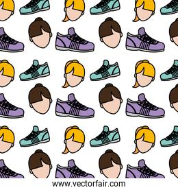 color women head and running shoes background