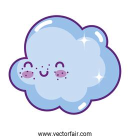 happy cloud kawaii weather in the sky