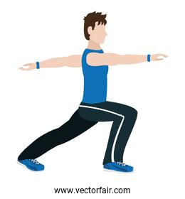 fitness man lunges each leg exercise