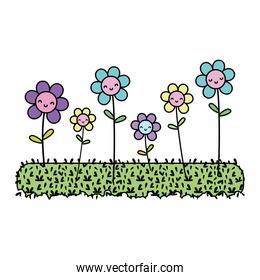 color videogame happy flowers plant and grass graphic scene