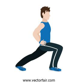 fitnes man lunges each leg training
