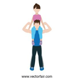 man carrying on the shoulder woman training