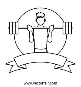 line fitness man with weight training and ribbon