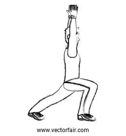 grunge fitness man with hands up and lunges each leg