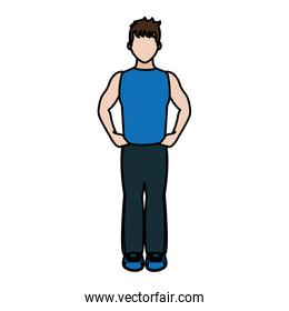 color fitness man with sport clothes to training