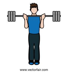 color fitness man weight exercise training