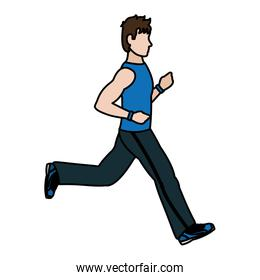 color fitness man running exercise training