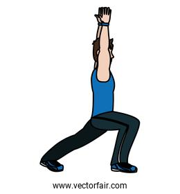 color fitness man with hands up and lunges each leg