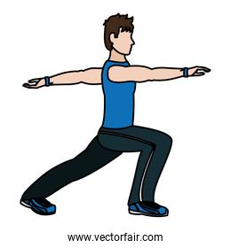color fitness man lunges each leg exercise