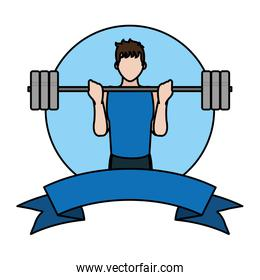 color fitness man with weight training and ribbon