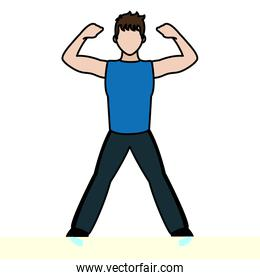 color fitness man doing exercise training