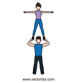 color fitness man and woman exercise training