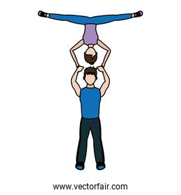 color fitness woman and man acrobatics training