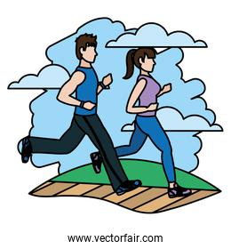 color fitness woman and man running training