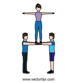 color fitness men and woman training acrobatics