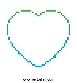degraded line game pixel heart life graphic