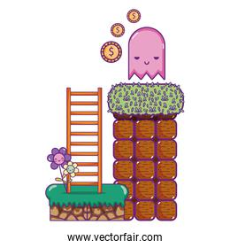 graphic character with coin and ledder scene