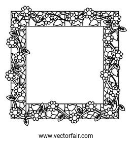 line rustic framework with flowers and stone decoration