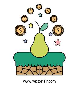 color pear with graphic coins and stars videogame scene
