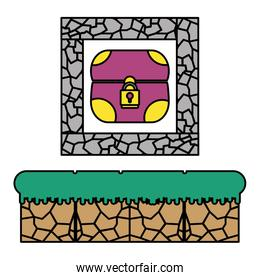 color graphic chest inside crystal stone scene