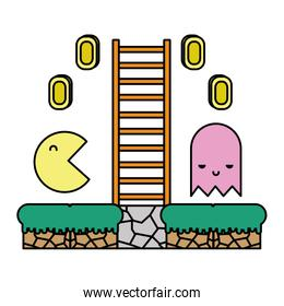 color characters with graphic ladder and videogame coins
