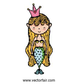 woman mermaid with crown and hairstyle design