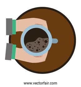 businessman hands with hot coffee in the table