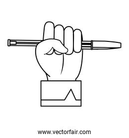 line businessman hand with pen object style