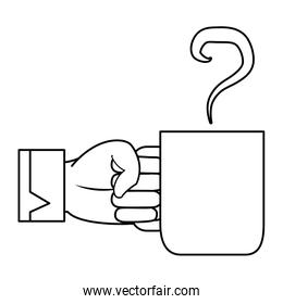 line businessman hand with hot coffee cup