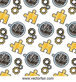 doodle engineering gear with puzzle and coffee cup background