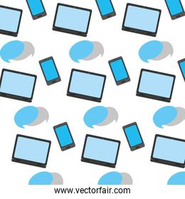 electronic smartphone and laptop with chat bubble background