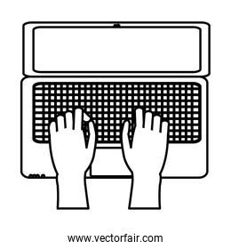 line hands with electronic screen laptop technology