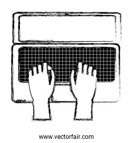 grunge hands with electronic screen laptop technology