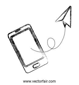 grunge smartphone technology communication with paper plane
