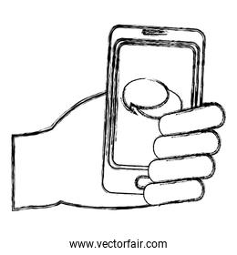 grunge hand with chat bubble inside smartphone technology