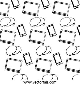 grunge electronic smartphone and laptop with chat bubble background