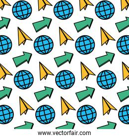 color global connection with paper plane and arrow background
