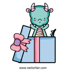 cute dragon inside present gift with ribbon bow