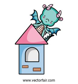 cute dragon with wings in the medieval tower
