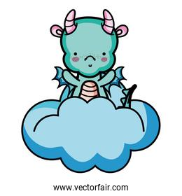 cute dragon with horns and wings in the clouds