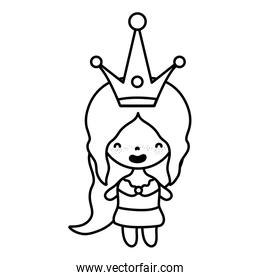 line woman with crown style and clothes design